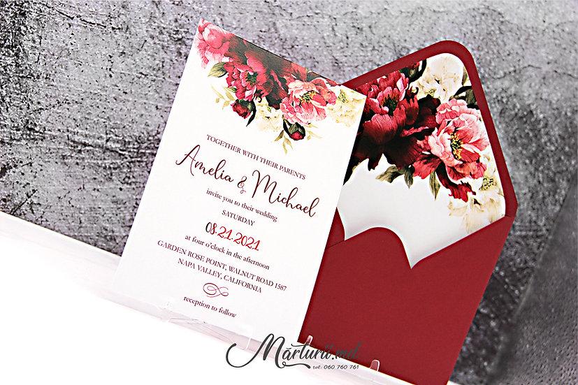 IN-075 Invitatie de nuntă, elegantă cu flori bordo si albe