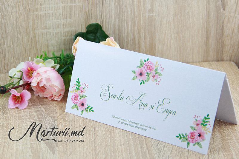 PC-006 Plic cu flori roz pentru bani la nunta sau cumetrie