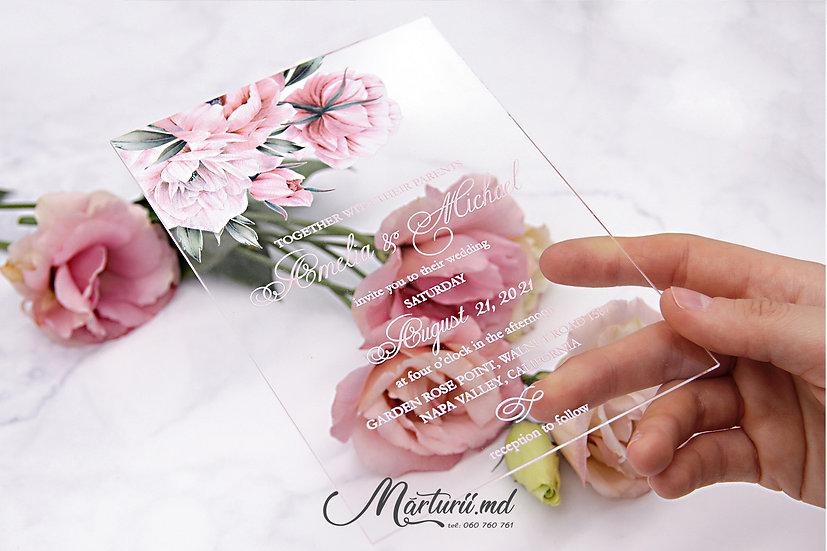 IS-029 Invitatie transparenta cu flori pastelate roz pudra