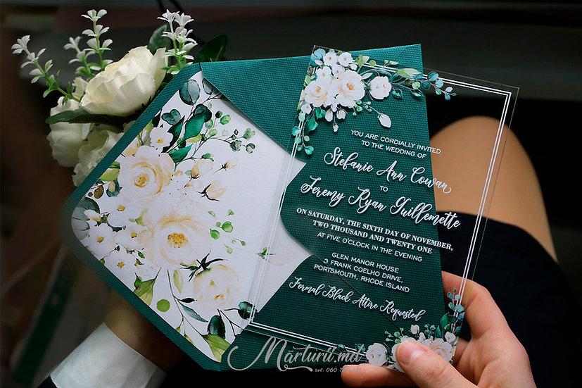 IS-032 Invitatie transparenta cu trandafiri albi in plic verde