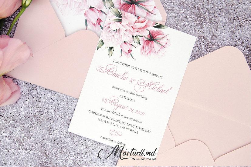 IN-076 Invitatie de nuntă, elegantă cu flori roz pudra