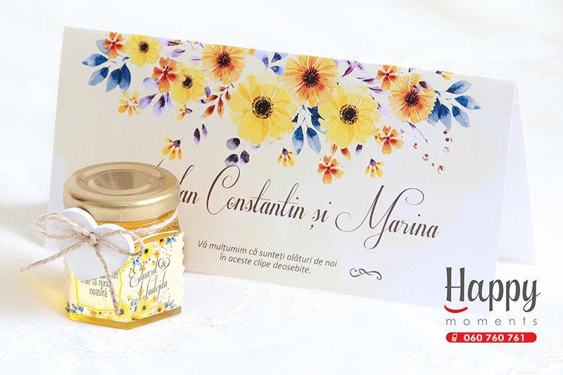 PC-004 Plic cu flori galbene pentru bani la nunta sau cumetrie