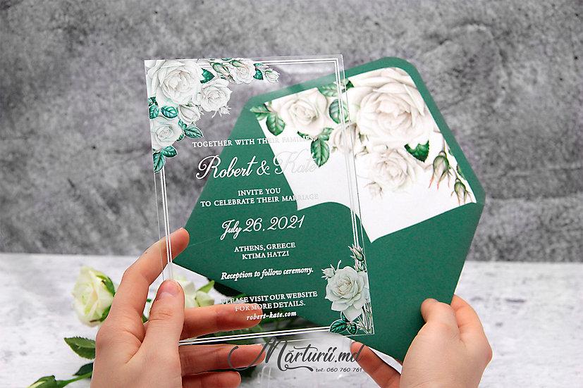 IS-037 Invitatie transparenta cu trandafiri albi