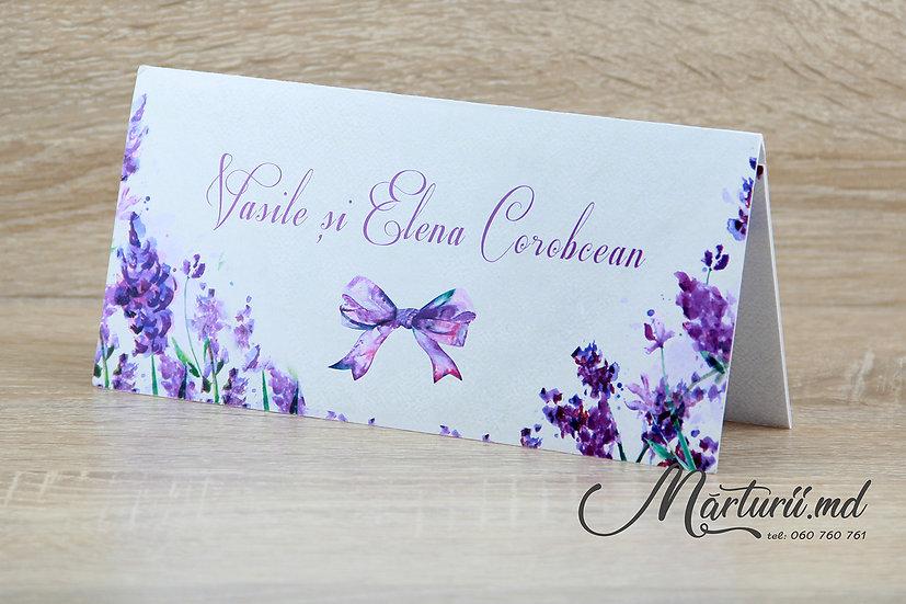 PC-007 Plic cu flori violet pentru bani la nunta sau cumetrie
