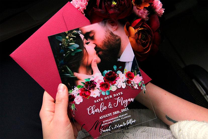 IS-036 Invitatie de nunta, transparenta cu fotografia mirilor