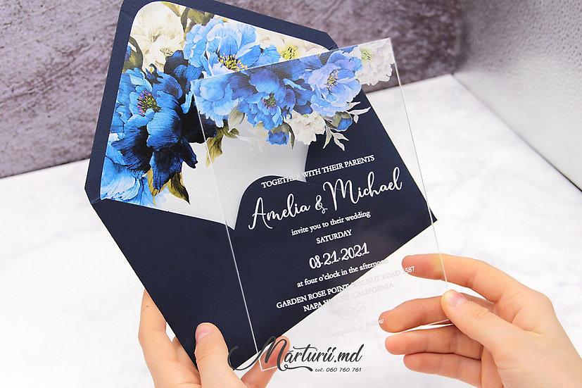 IS-027 Invitatie transparenta cu buchet floral alb albastru