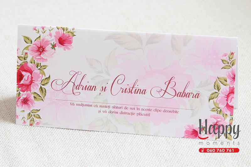 PC-005 Plic cu flori roz pentru bani la nunta sau cumetrie