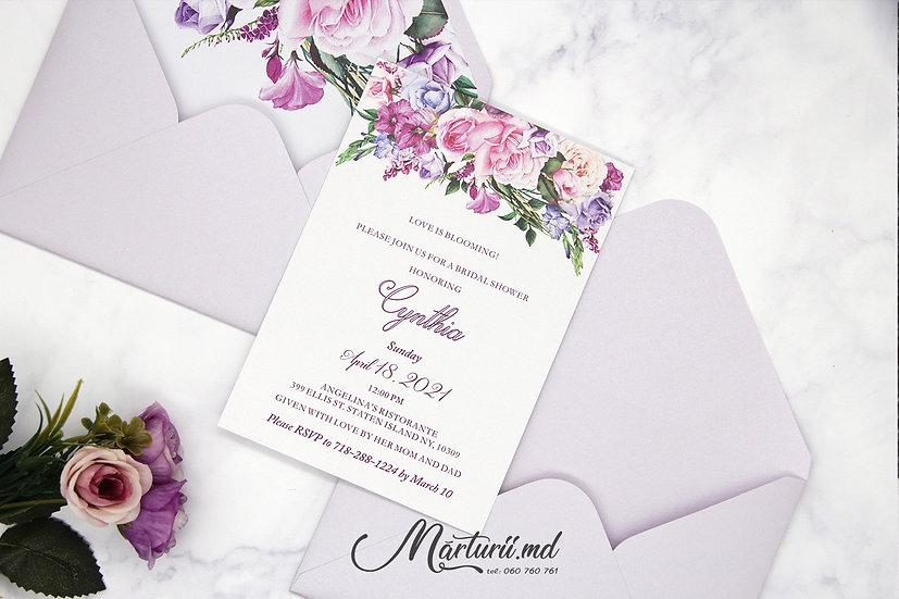 IN-073 Invitatie de nuntă, elegantă cu flori viu colorate în plic sidefat