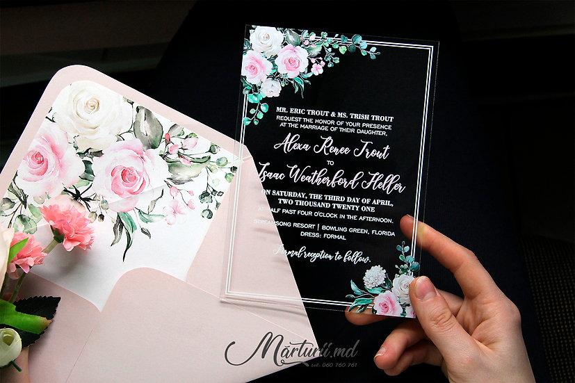 IS-039 Invitatie transparenta cu trandafiri roz si albi