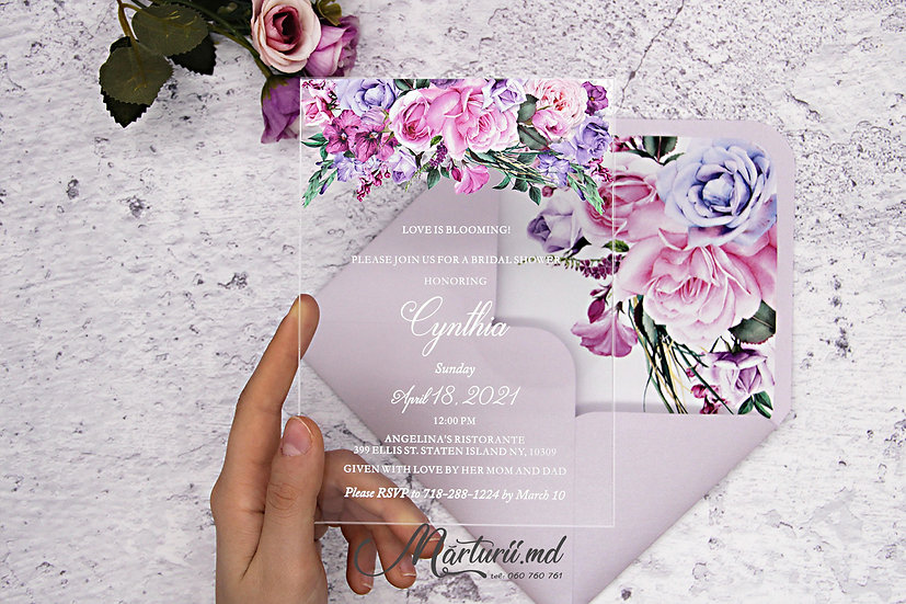 IS-026 Invitatie transparenta cu buchet floral multicolor