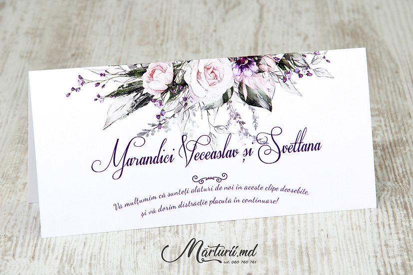 PC-030 Plic pentru bani cu print floral alb violet