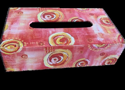 Wooden Tissue Box, Pink Swirls