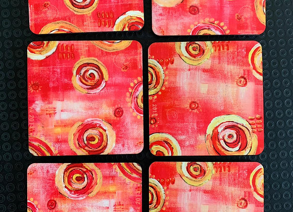 Pink Swirls,  Abstract Coasters