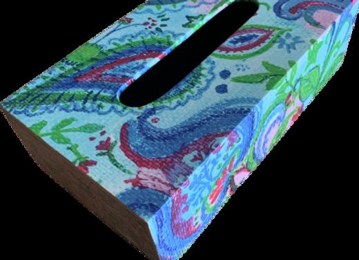 Wooden Tissue Box, Blue Paisley