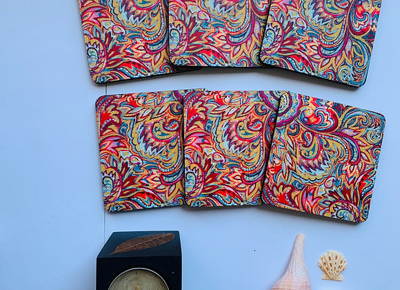 Pink Paisley, Abstract Coasters