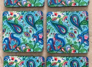 Blue Paisley, Abstract Coasters, Set of 6