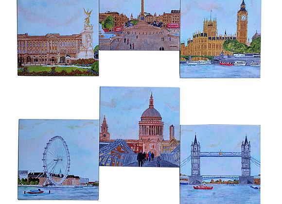 London wood coasters, set of 6