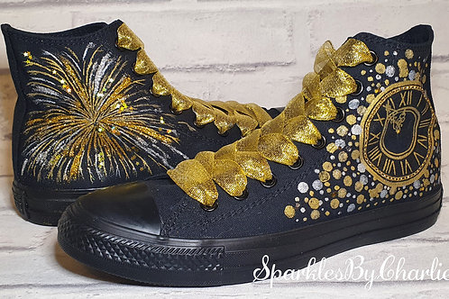 Clock Faced Converse with added Fireworks