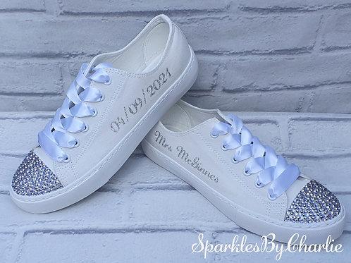 Personalised Mono White Wedding Shoes