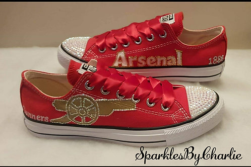 Custom Converse Arsenal FC designed pumps. Arsenal FC unofficial trainers