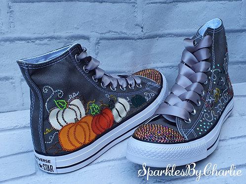 Fall, Halloween, Autumn hightop Converse trainers