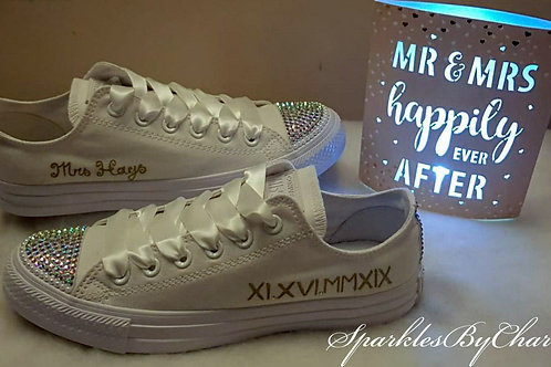 Wedding Converse - Hand Drawn Name with Roman Numerals