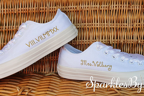 Personalised Mono White Converse Wedding Shoes