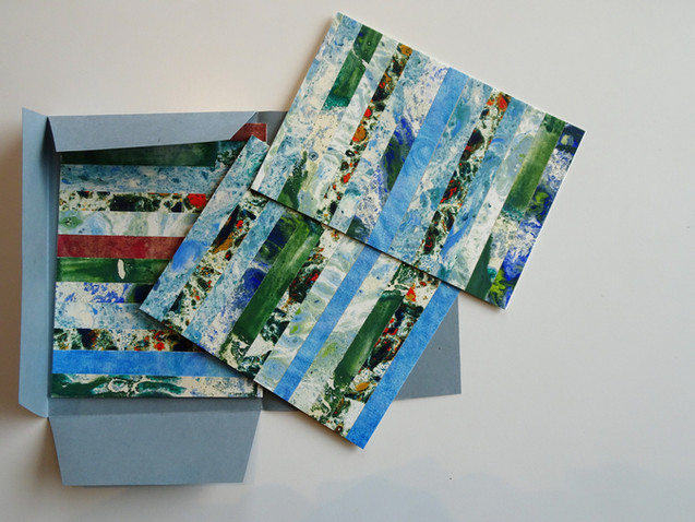 Marmercollages in groen- en blauwkleuren