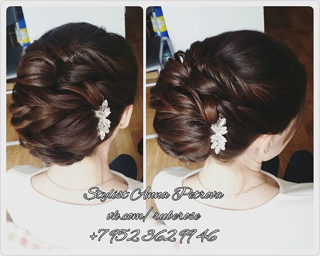 Средний вариант свадебного пучка😊👰_Украшение в волосы от _leteria_#makeup#свадебныймакияжспб#приче