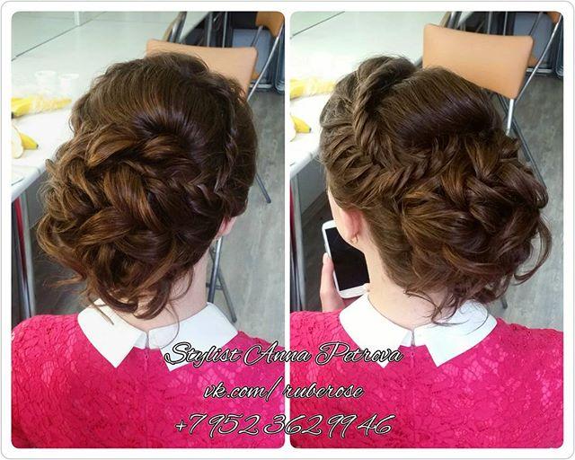 Свадебная прическа для любимой _evgueniia_rich 😗😙 Выполнена на волосы до плеч😊 Makeup&Hair _rube_
