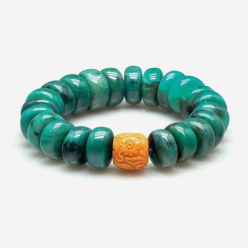 Coral & Nephrite Bracelet