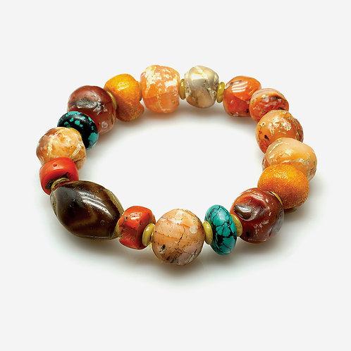 Old Agate & Choon See Bead Bracelet