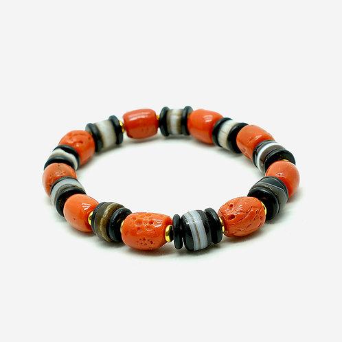 Old Coral & Medicine Beads Bracelet