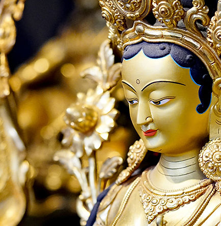 Gold gilded green tara statue