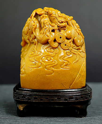 Shoushan stone with Dragon carving