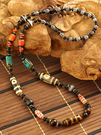 Old Sky & Earth Old Dzi Beads and 2eyes old Dzi Beads Necklace