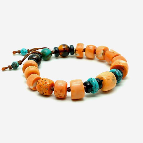 Old Mountain Coral, Turquoise & Amber Bracelet