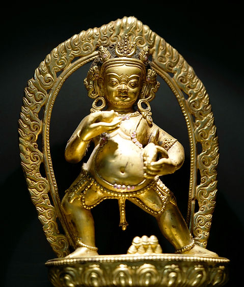 Gold Gilded Black Money God Statue