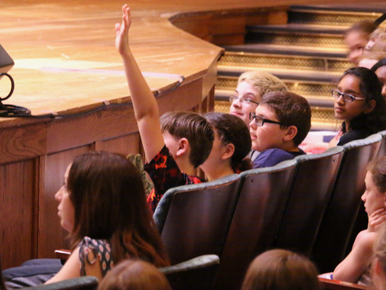 Students participate in a discussion about the orchestra at the 2018 School Day Concerts.