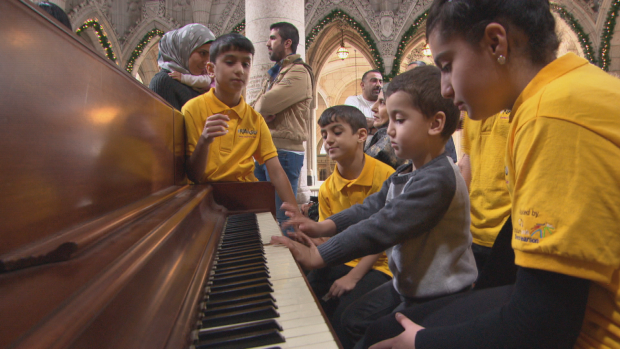 Syrian refugee kids choir performs at the House of Commons