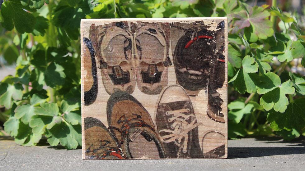 Holzbild Schuhe