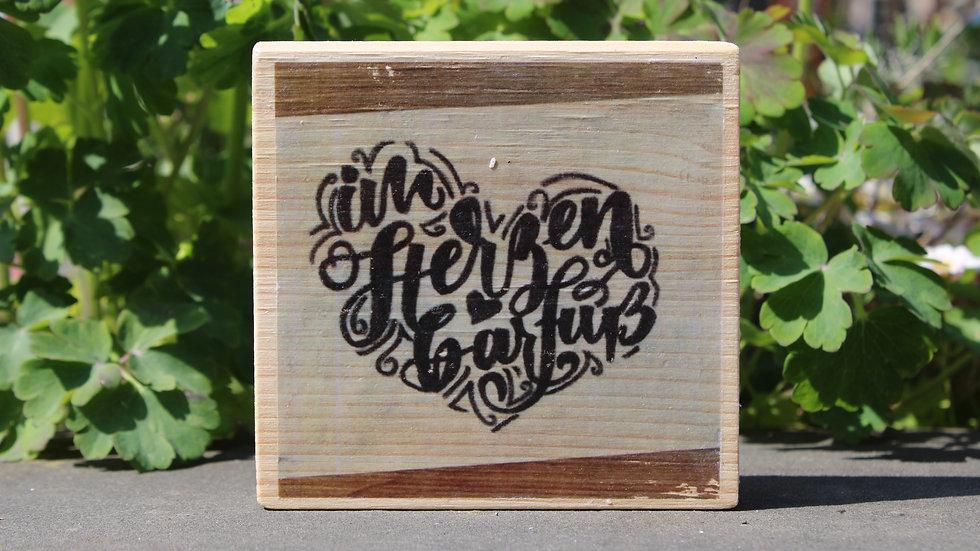 "Holzbild ""im Herzen barfuß"""