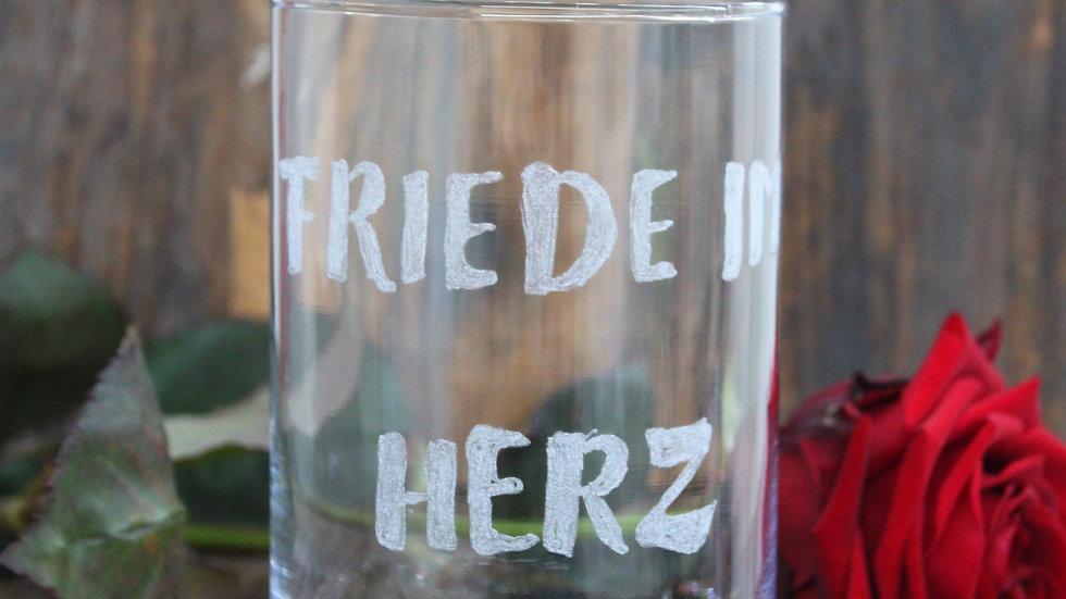 """Glasvase """"Friede im Herz"""""""