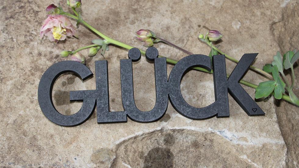 "Holzschrift ""Glück"""