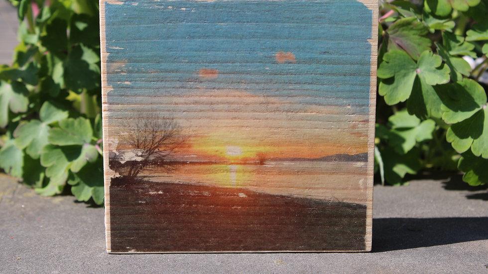 Holzbild Sonnenuntergang See