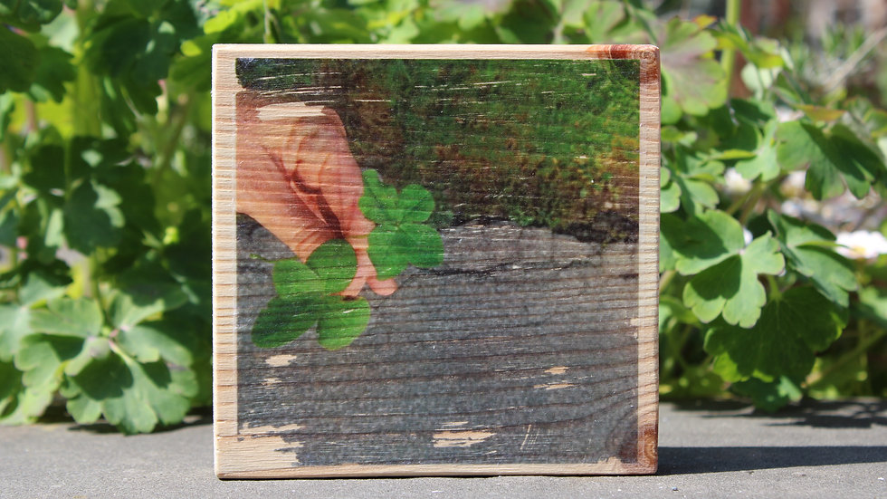 Holzbild zwei Glücksklee