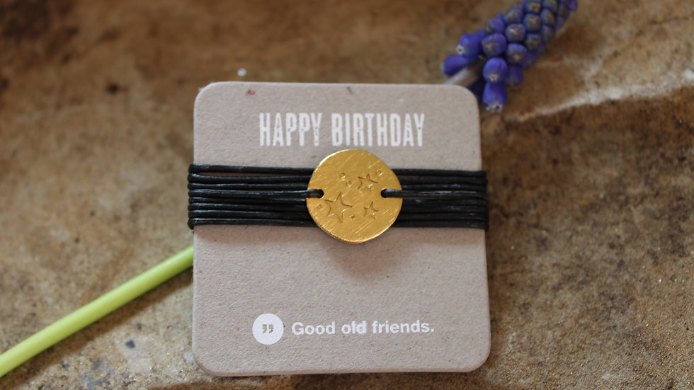 "Wickelarmband goldfarbig ""Happy birthday"""