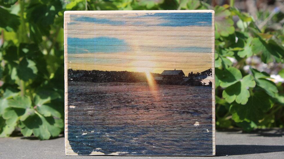 Holzbild Sonnenuntergang