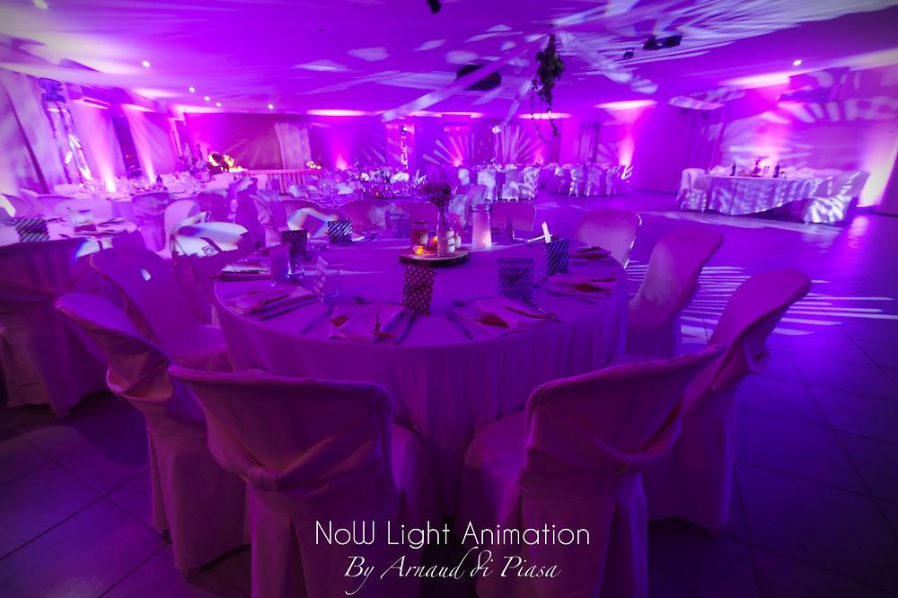 Décoration lumineuse pour un mariage au Val des pins.