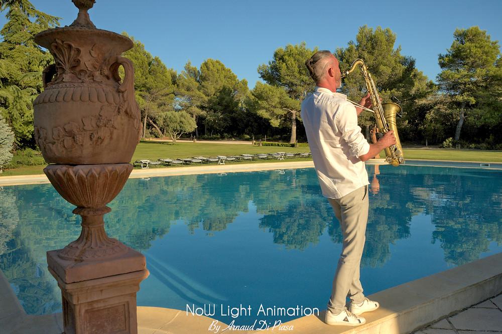 Saxophoniste, mariage, Bastide d'Astres, Apéritif